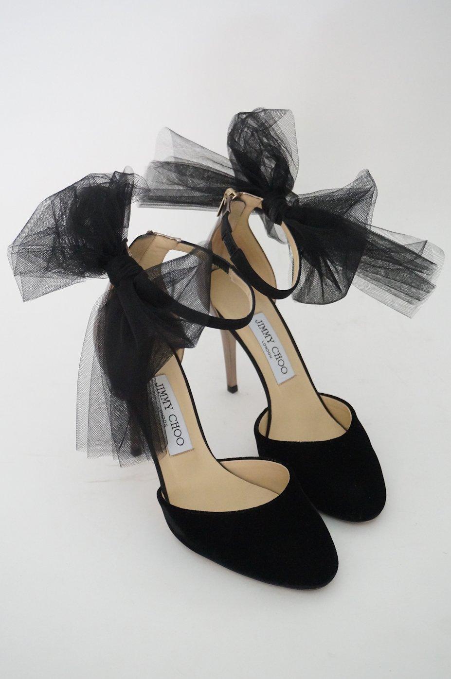 38e1620c49612 ジミーチュウ リボン付きストラップシューズ 37 1 2   レンタルリトルブラックドレス テン Rental Little Black Dress  ten.